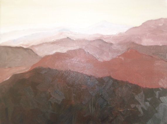 Landscape original small oil painting No Mountain by noramariam