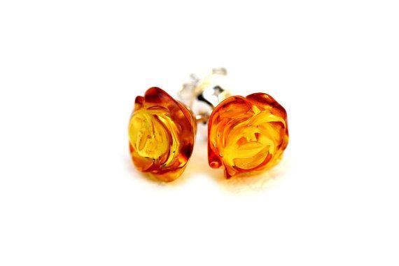 Floral Earrings Silver Stud Earrings Baltic Amber Earrings Amber Rose Earrings Stud Flower Earrings Amber Studs Amber Flower Earrings
