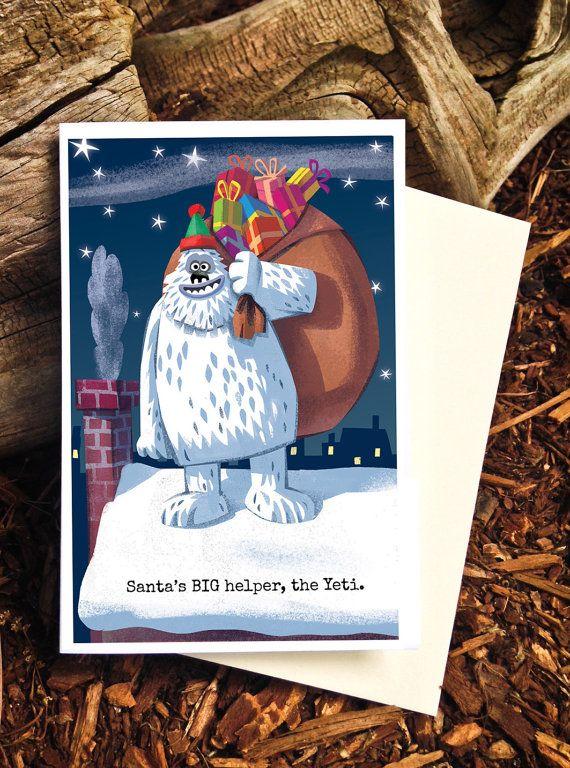 Funny Christmas Card / Yeti Holiday Card / Santas by PicklePunch