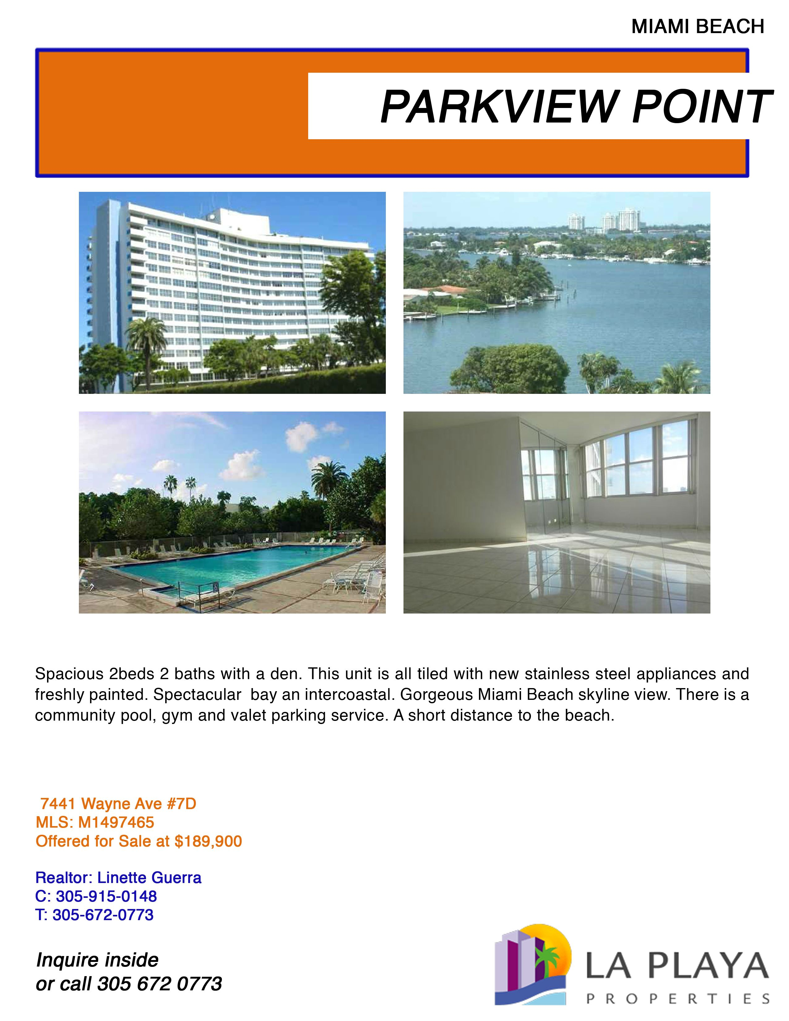 Spacious 2bed 2bath with a den. this unit is all tiled with new stainless steel appliances and freshly painted. Spectacular bay and inter coastal. For More information call La Playa Properties 305 672 0773. #Miami #RealEstate #MiamiRealEstate #ParkviewPoint #LaPlayaProperties