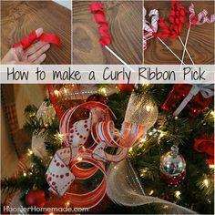 Diy Curly Ribbon Pick Instructions On Hoosierhomemade Com Ribbon On Christmas Tree Diy Christmas Tree Ornaments Scandinavian Christmas Trees