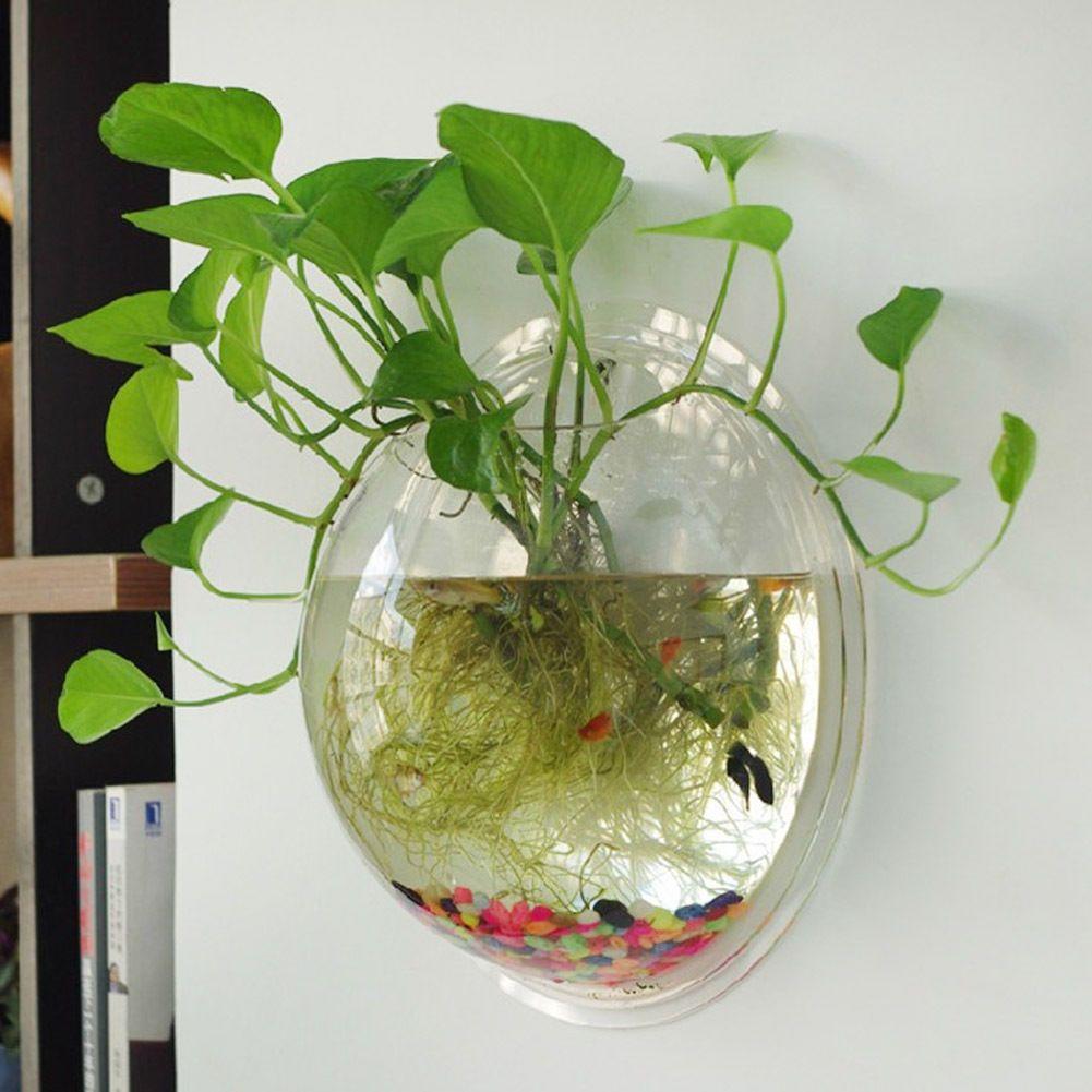 Betta Art Decorative Fish Bowl Wall Mount Fish Bowl Acrylic Aquarium Tank Beta Goldfish Hanger