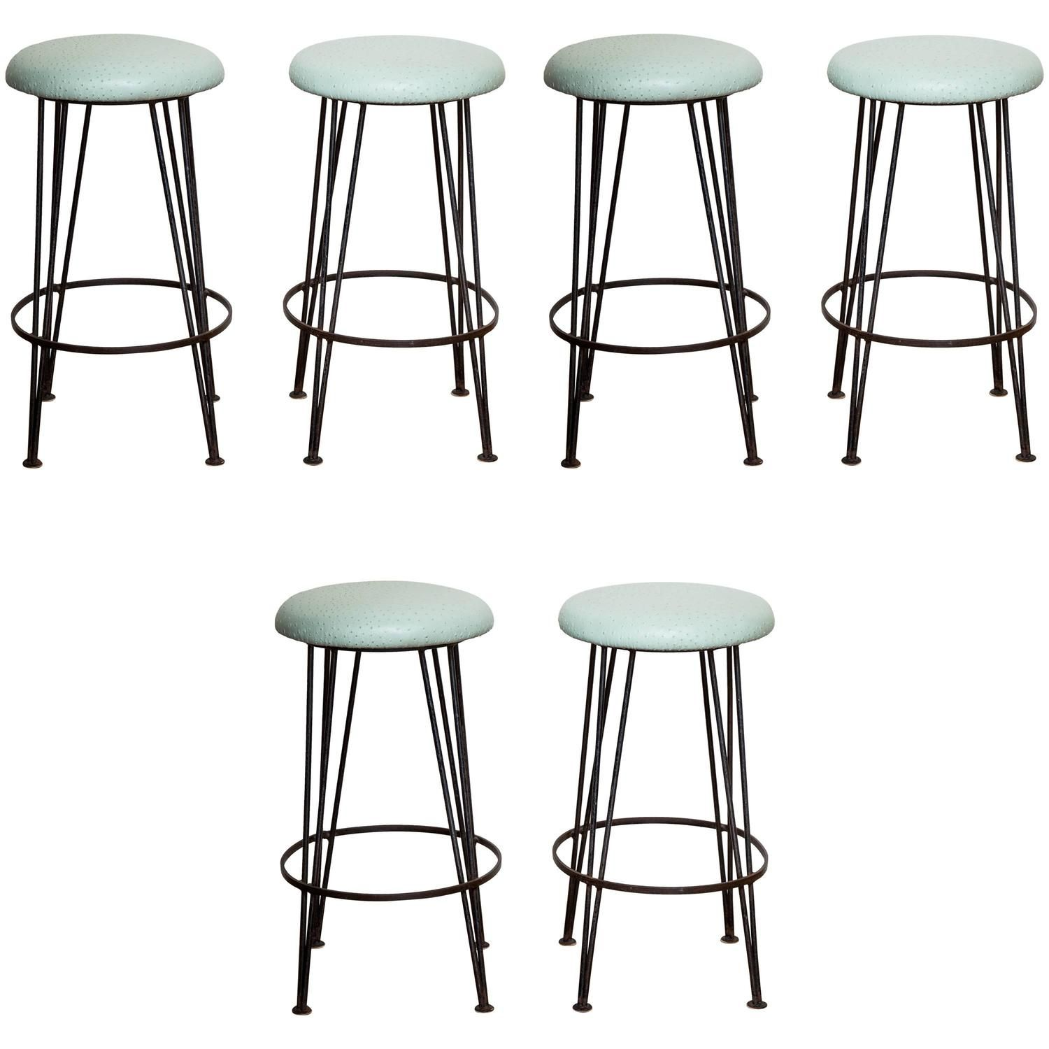 Set of Six Wrought Iron Bar Stools with Mint Green Ostrich Leather