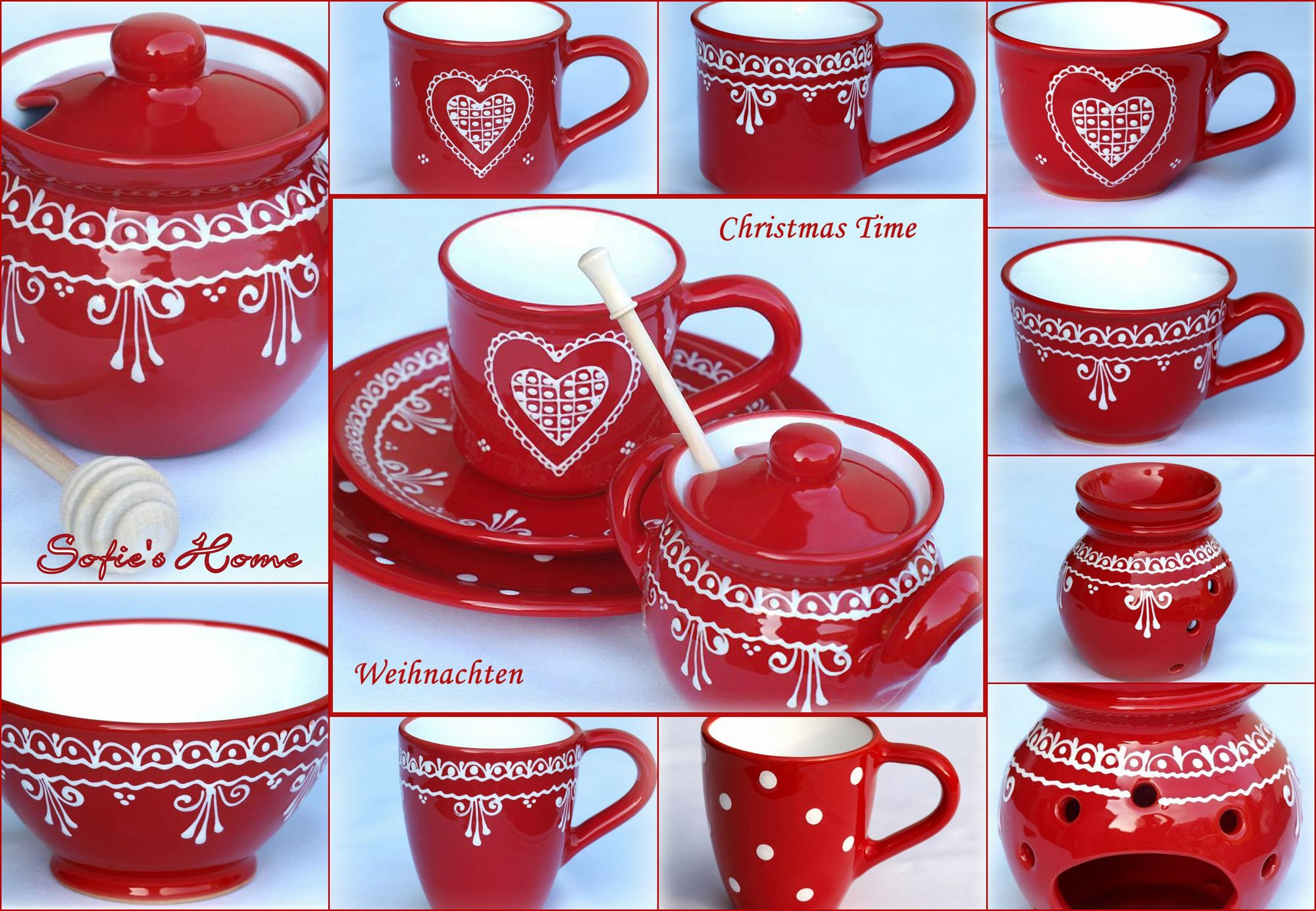landhaus tischdeko weihnachten ideen f r den weihnachtstisch rot spitze tupfen keramik. Black Bedroom Furniture Sets. Home Design Ideas