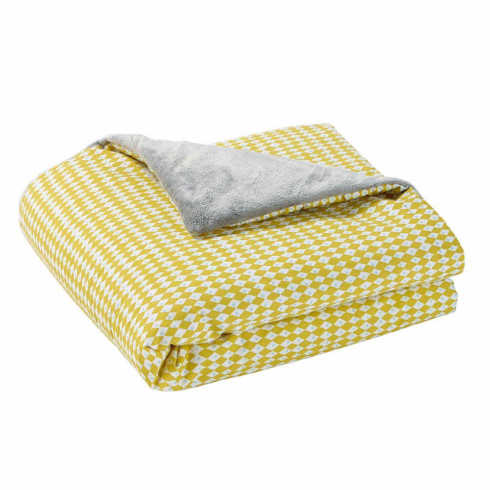 Couverture bébé en coton jaune/gris 75 x 100 cm   PLAIDS   Bebe