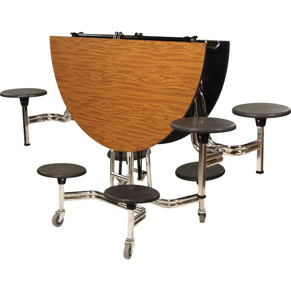 Round Mobile Stool Cafeteria Table 60Dia 8 Stools