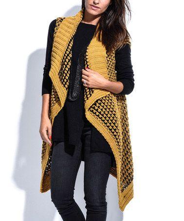 Mustard Sleeveless Wool-Blend Open Cardigan #zulilyfinds