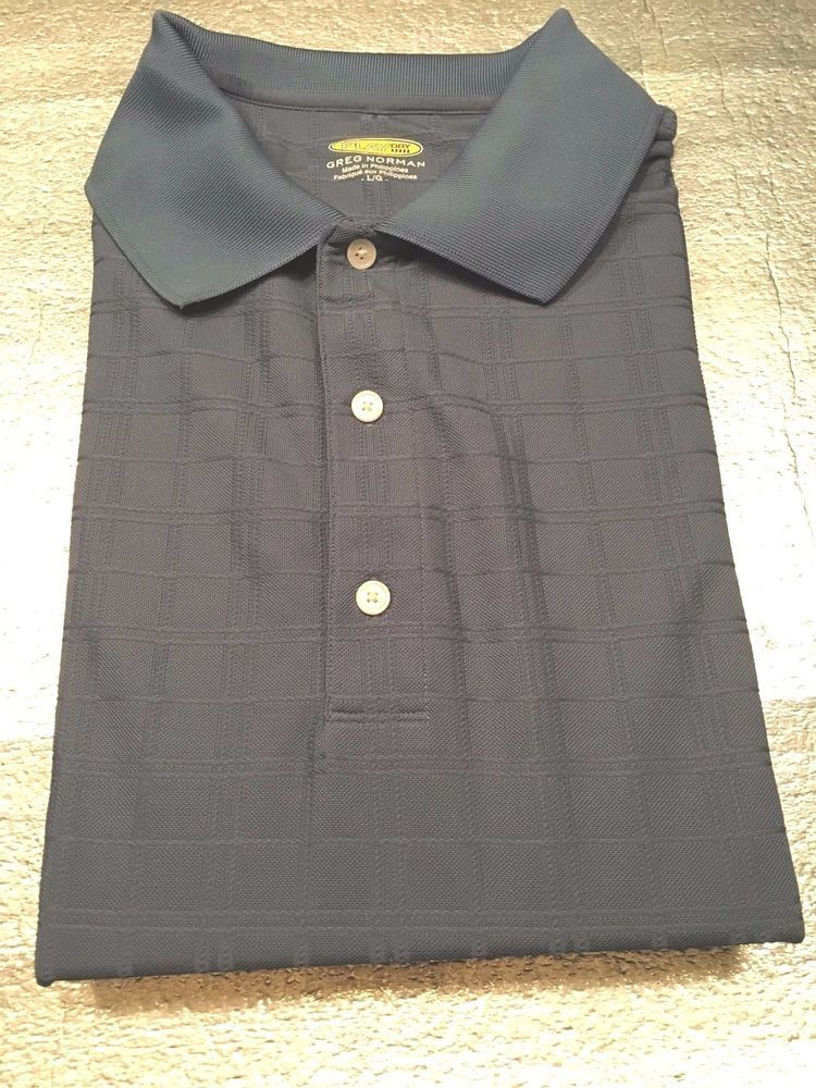 Men's GREG NORMAN Play Dry Golf Polo Shirt - Blue - Microfiber Poly - Size L #GregNorman #PoloRugby