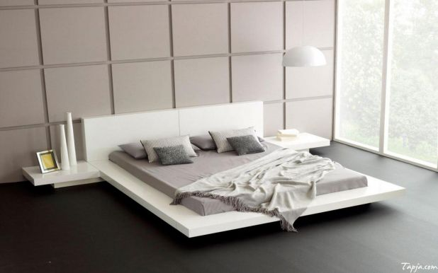 Lighting Modern Platform Bed White Bed Frame Minimalist