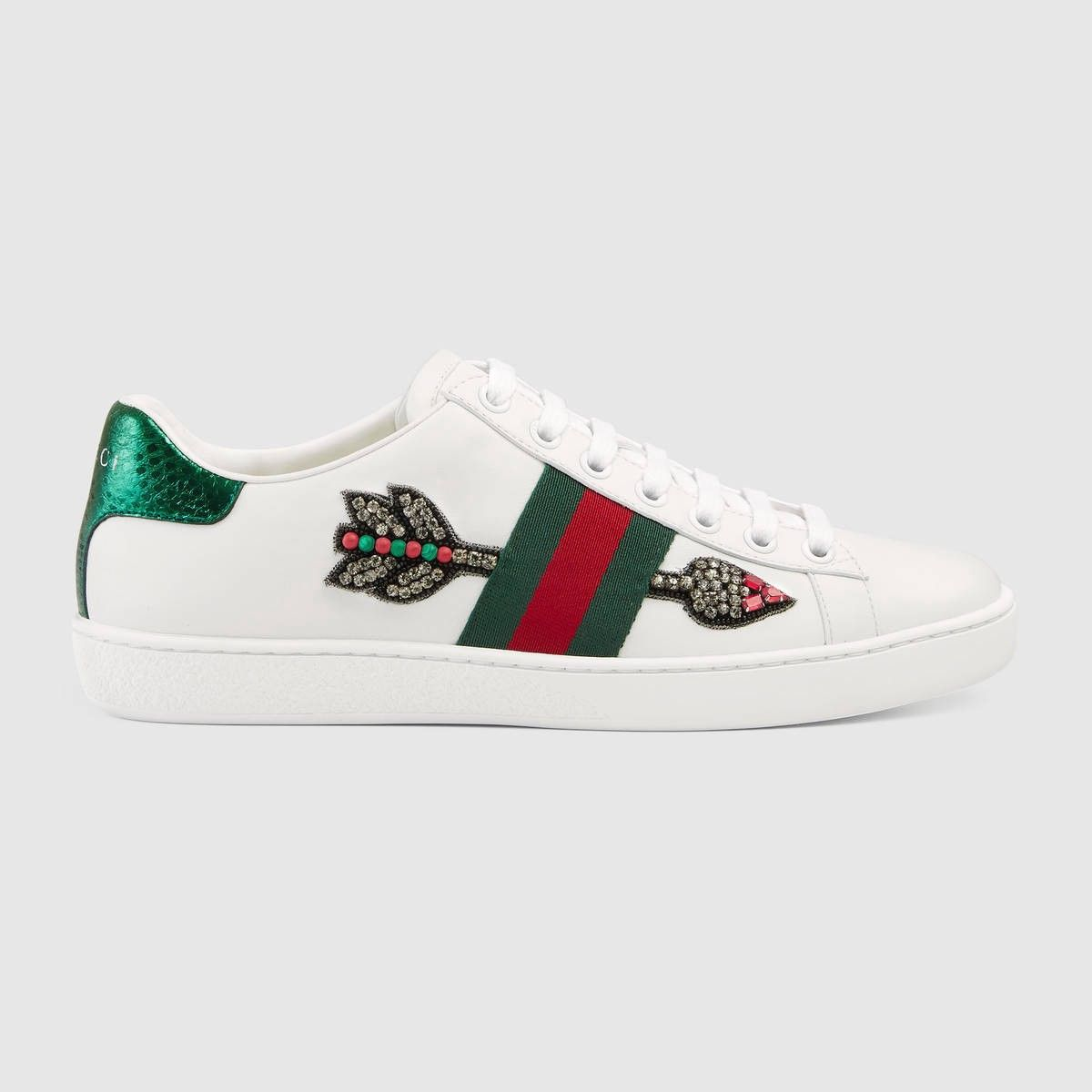 Gucci Ace Watersnake-trimmed Crystal