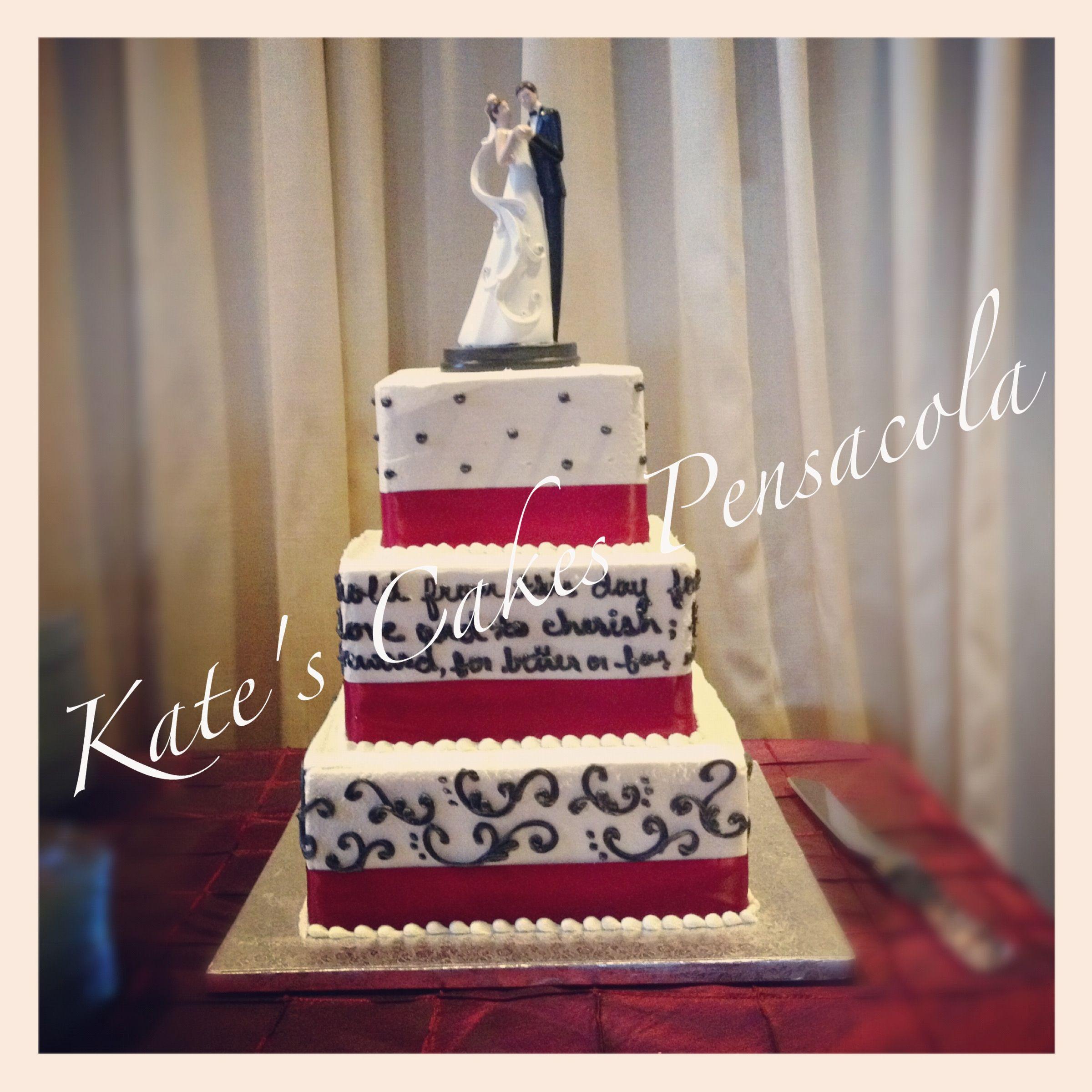 Wedding Cake 3 Tiered Square Buttercream Vows Written On Side Kates Cakes Pensacola FL