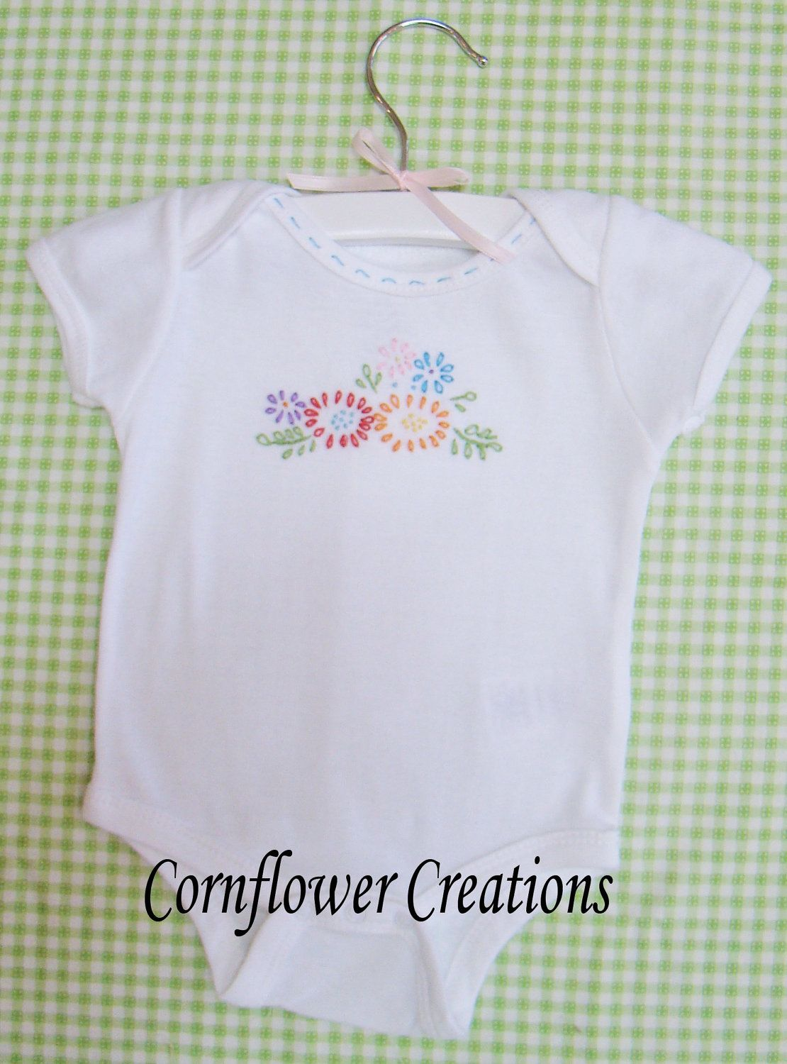 fresh flowers hand embroidered onesie made to order