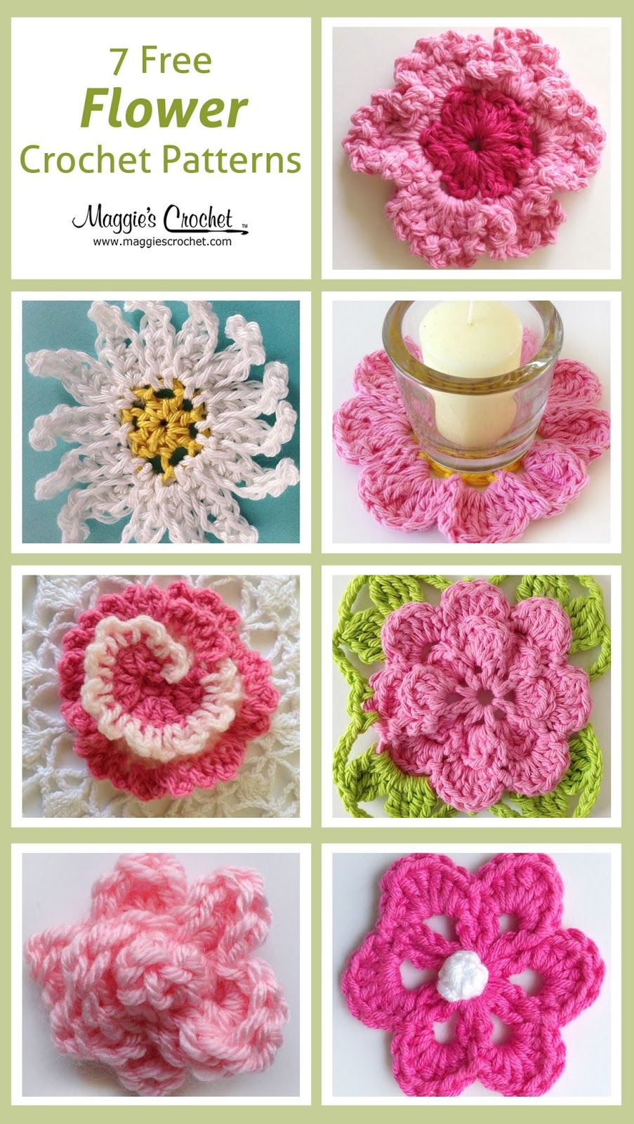Free patterns httpmaggiescrochetblogseven free flower its time for more free flower patterns from maggies crochet all of these projects are an easy skill level and can be used for a number of things bankloansurffo Gallery