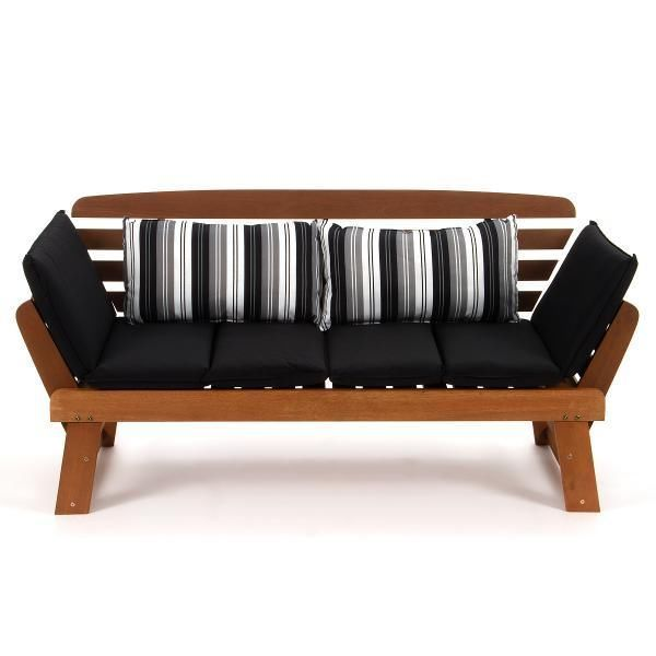 new wooden outdoor garden sun bed daybed lounge sofa bench with black cushions in home