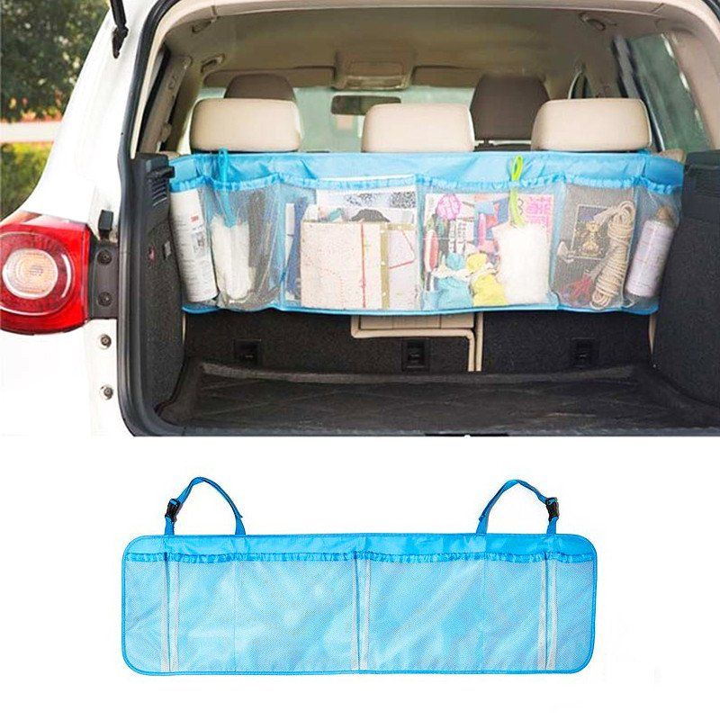 1 Pcs Car Seat Back Storage Mesh Bag Trunk Organizer Auto Folding Luggage Zakka Bags Vehicle Accessories Styling
