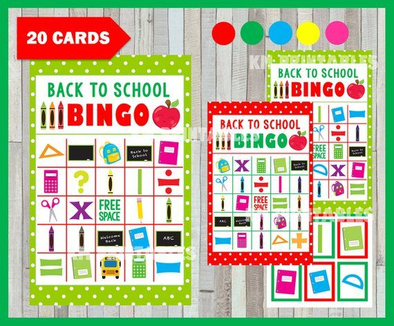 photo about Back to School Bingo Printable called Printable 20 Back again in the direction of Faculty Bingo Playing cards; printable College