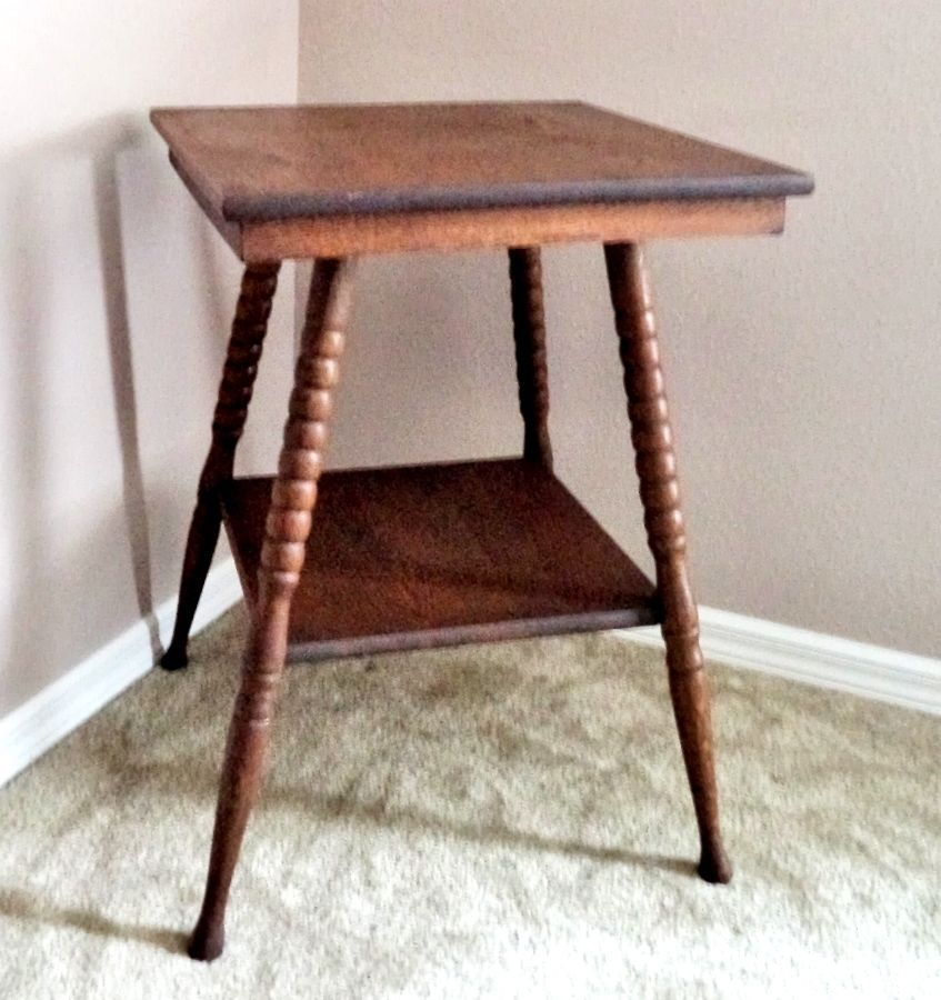 Antique Vintage Oak Wood 2 Tier Lamp Parlor Side Table With Turned