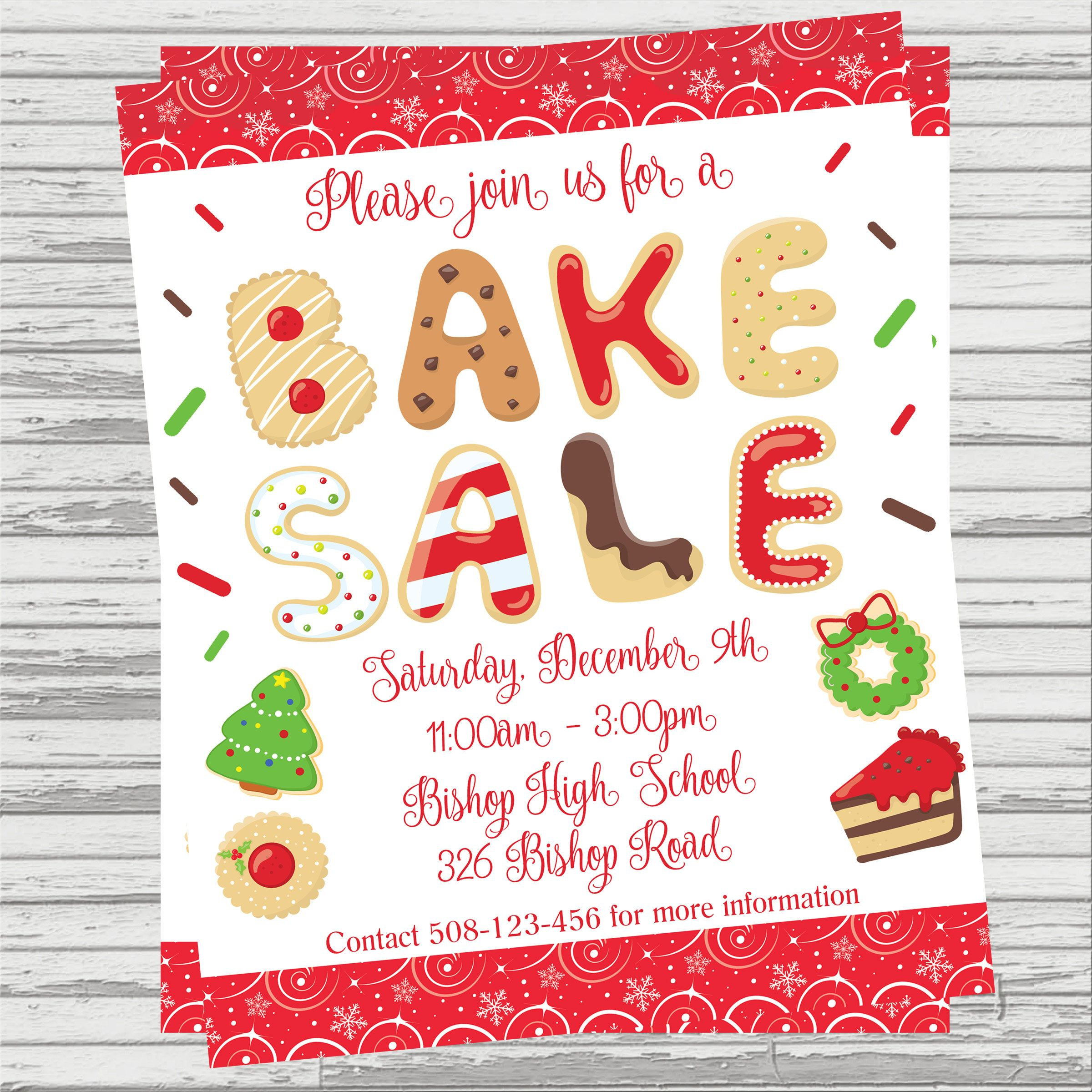 Holiday Bake Sale Flyer Digital File  Invites    Bake