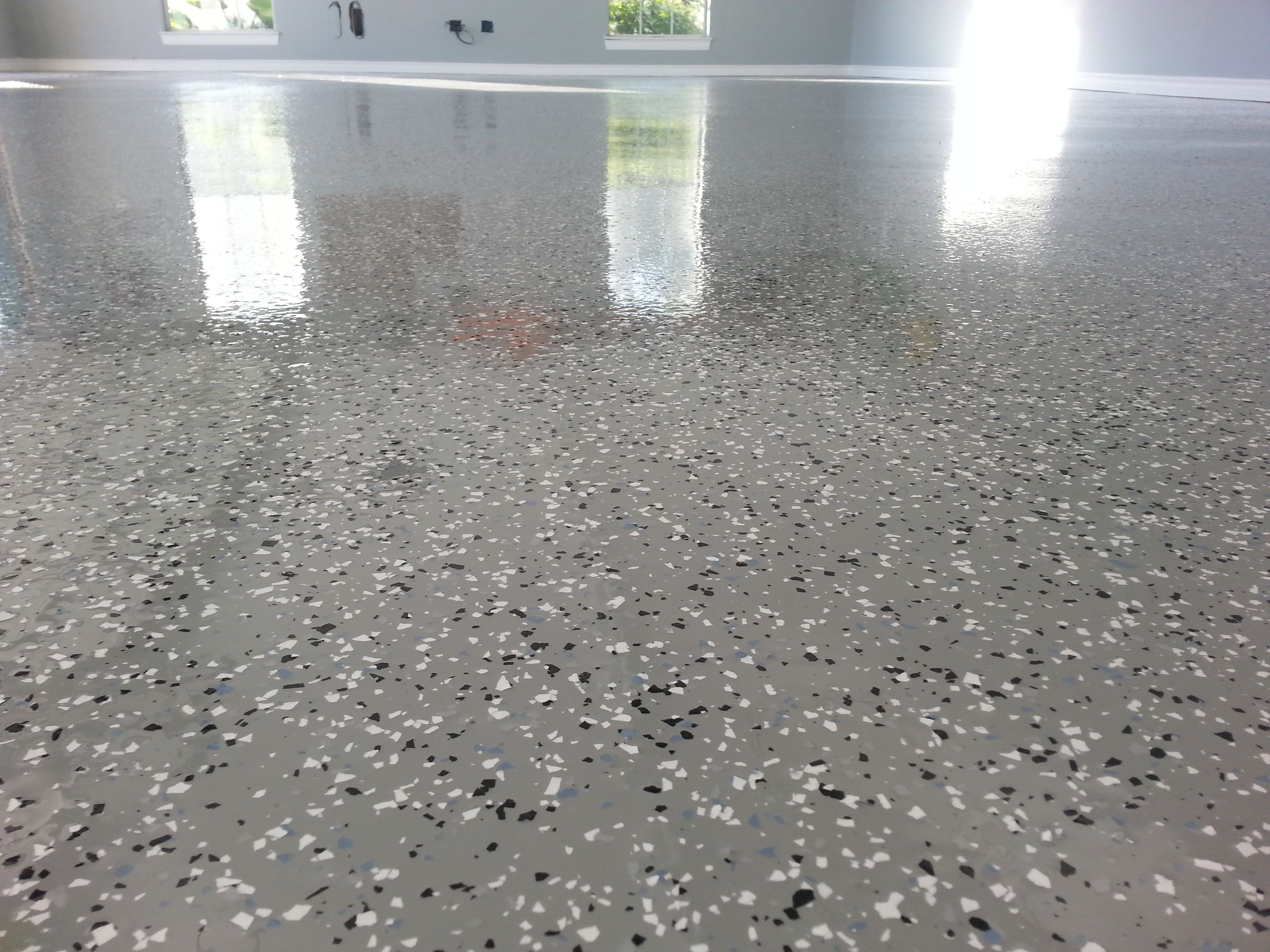 concrete nj flooring flake garage coating home broadcast in new full epoxy leveling paint self floor floors polished