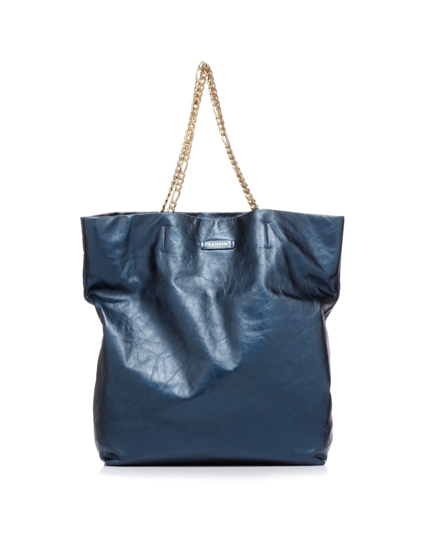 Large shopping bag in finished leather with metallic effect by @LANVIN Paris