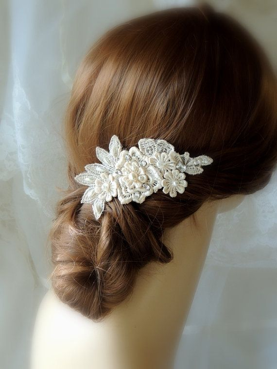 Wedding Hair Accessories Ivory Comb Champagne Pearl Clip