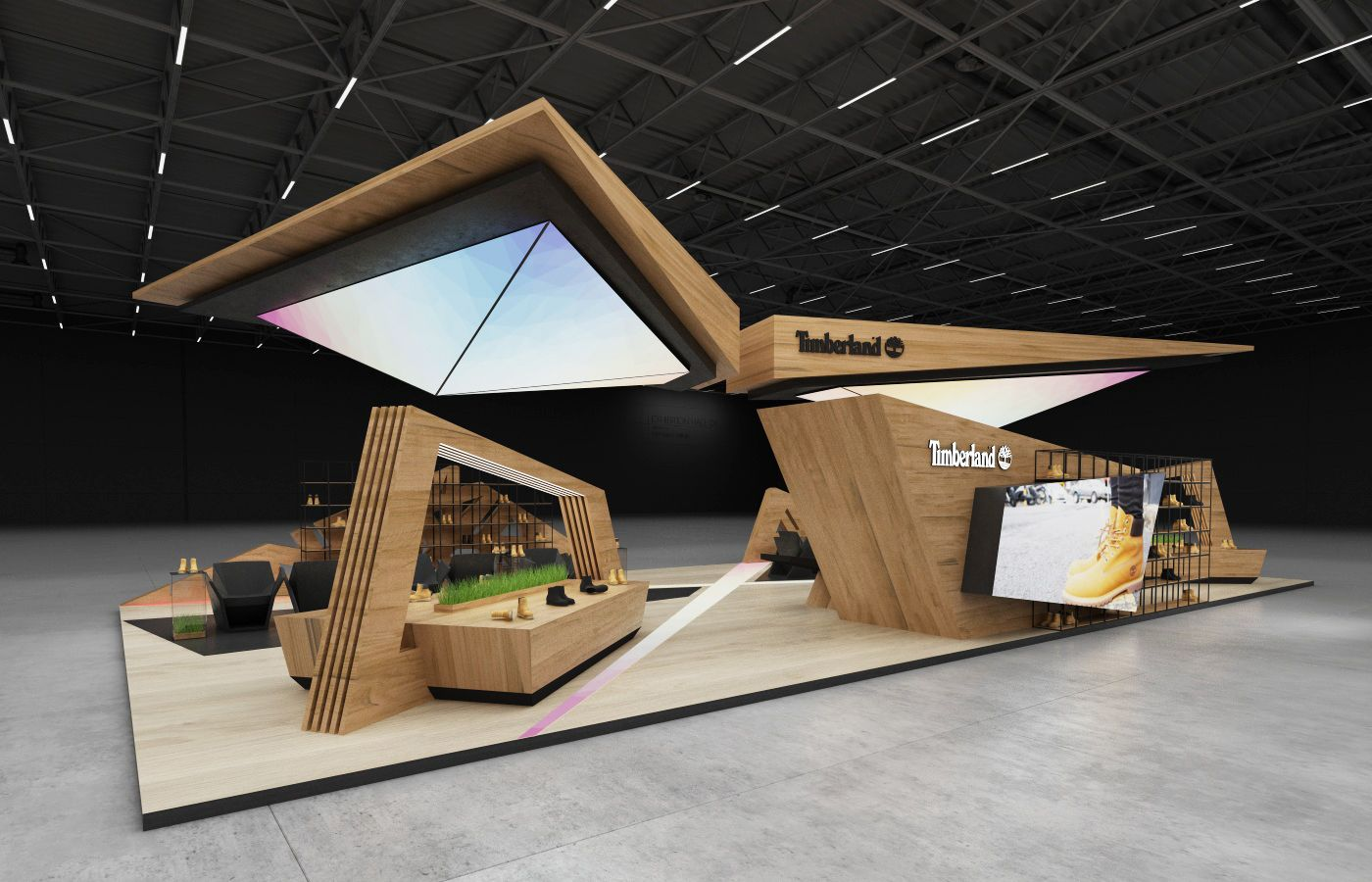 Stands In Expo : Design concept of exhibition stand for timberland sq