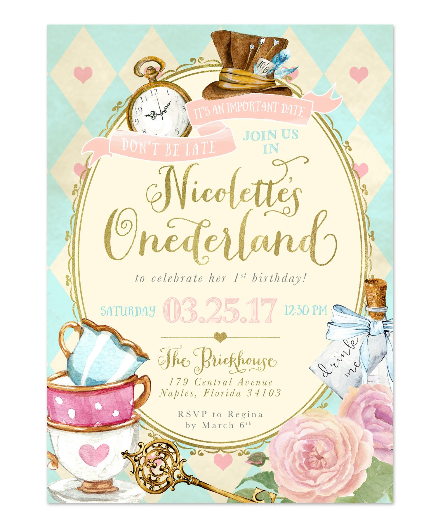 Alice In Wonderland Girls 1st First Birthday Party Invitation
