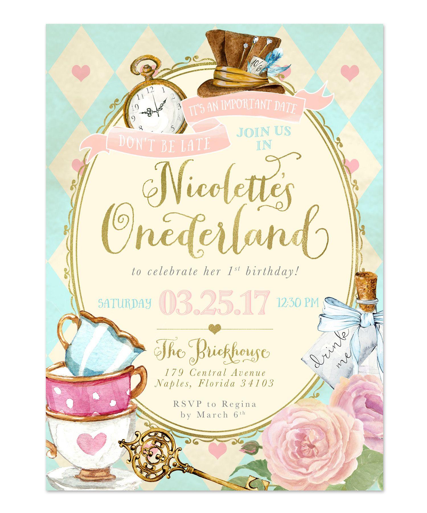 Alice in Wonderland Onederland Girls 1st First Birthday Party – Alice in Wonderland Birthday Cards