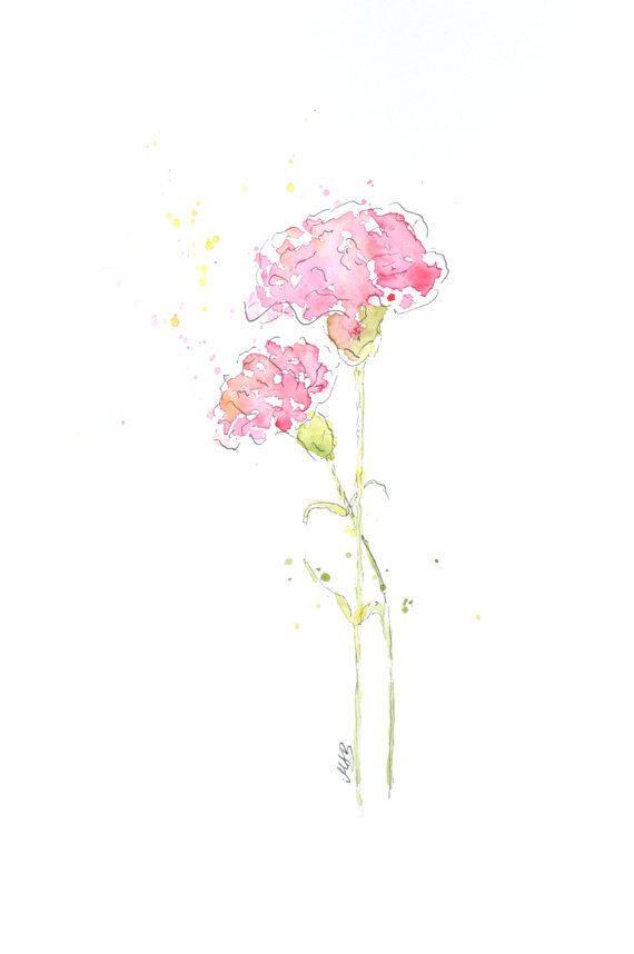 Watercolor Carnation Flower Painting Original Watercolor Art Nursery Wall Decor Home Deco Flower Painting Original Flower Painting Original Watercolor Art
