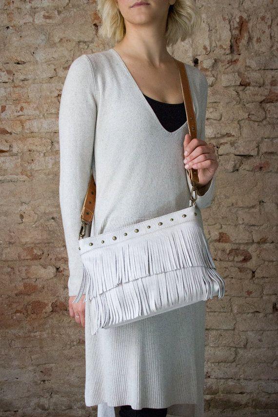 Fringes crossbody bag, fringe purse, crossbody handbags, modern crossbody bag, gift for her, cross body messenger, white fringes purse