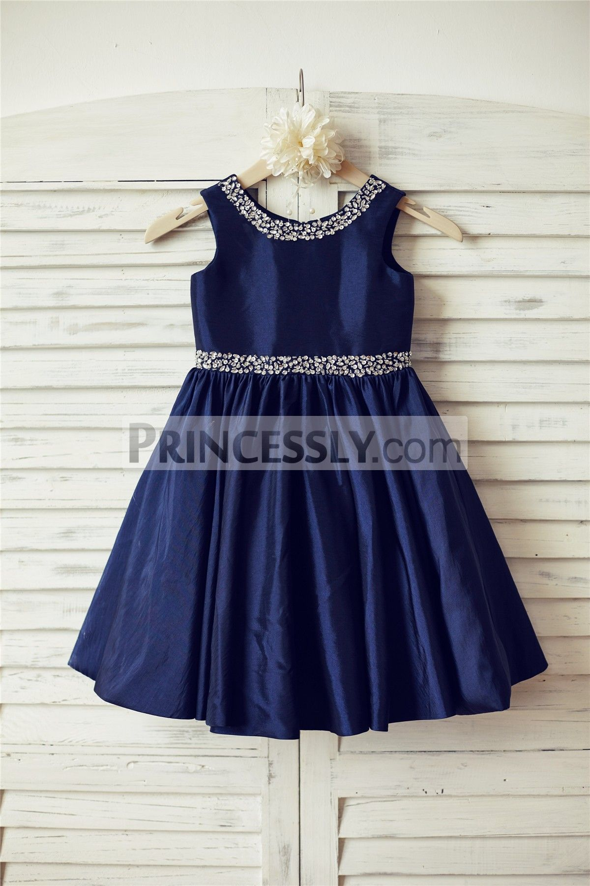 Beaded Navy Blue Taffeta Flower Girl Dress  Flower girl dresses