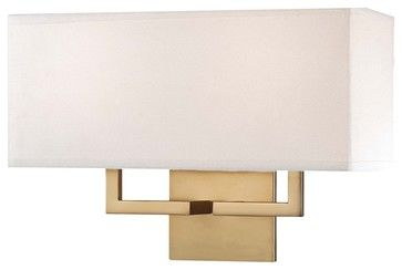"""George Kovacs Rectangle 11"""" High 2-Light Gold Wall Sconce contemporary-wall-sconces"""