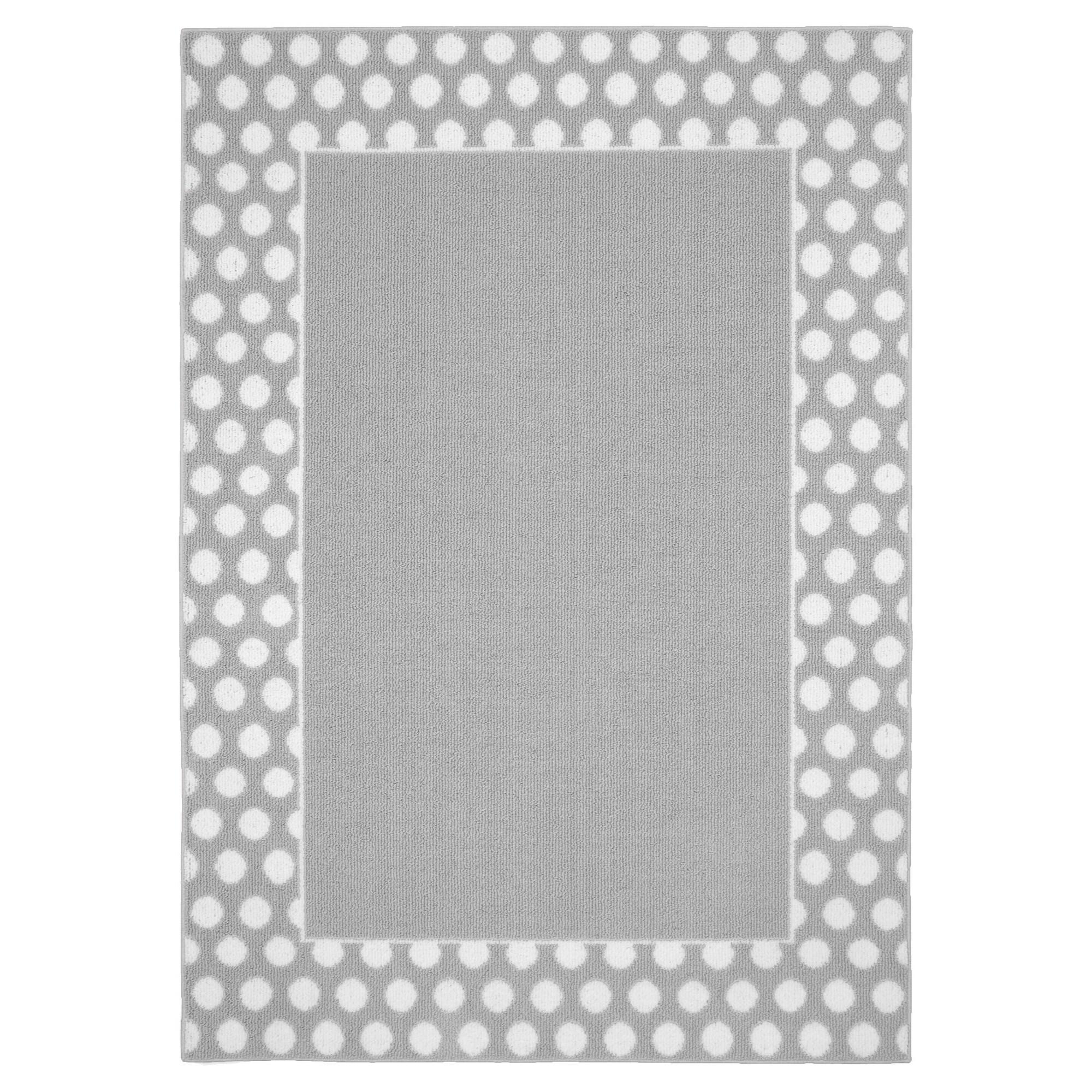 Garland Polka Dot Frame Area Rug Silver White 5 X7 Adult