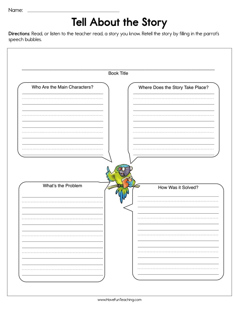 Tell About the Story Worksheet Reading comprehension