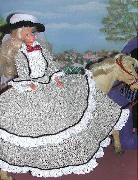 Crochet Fashion Doll Barbie Pattern- #248 OLD WEST in GRAY | Puppen ...