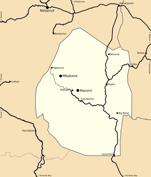 Swaziland rail network map: Swazi Rail (SR), also Swaziland Rail, is ...