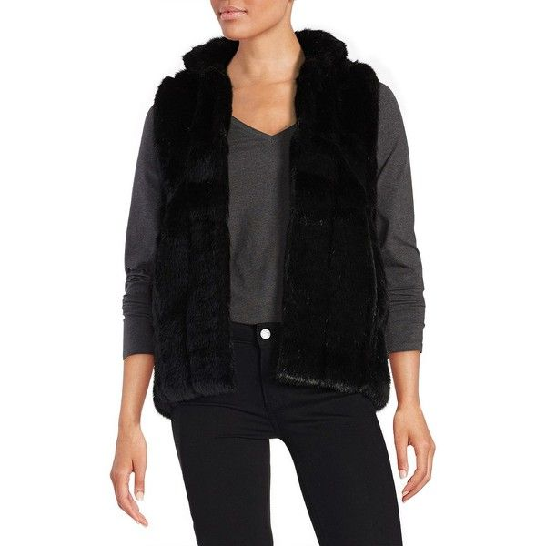 Donna Salyers  Faux Fur Vest ($149) ❤ liked on Polyvore featuring outerwear, vests, black, sleeveless vest, faux-fur vests, faux fur vests, sleeveless waistcoat and fake fur vests