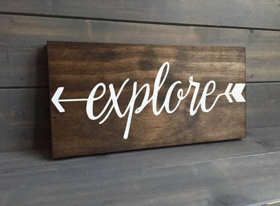Signs Decor Explore Wood Sign Stained And Hand Painted Adventure Signs