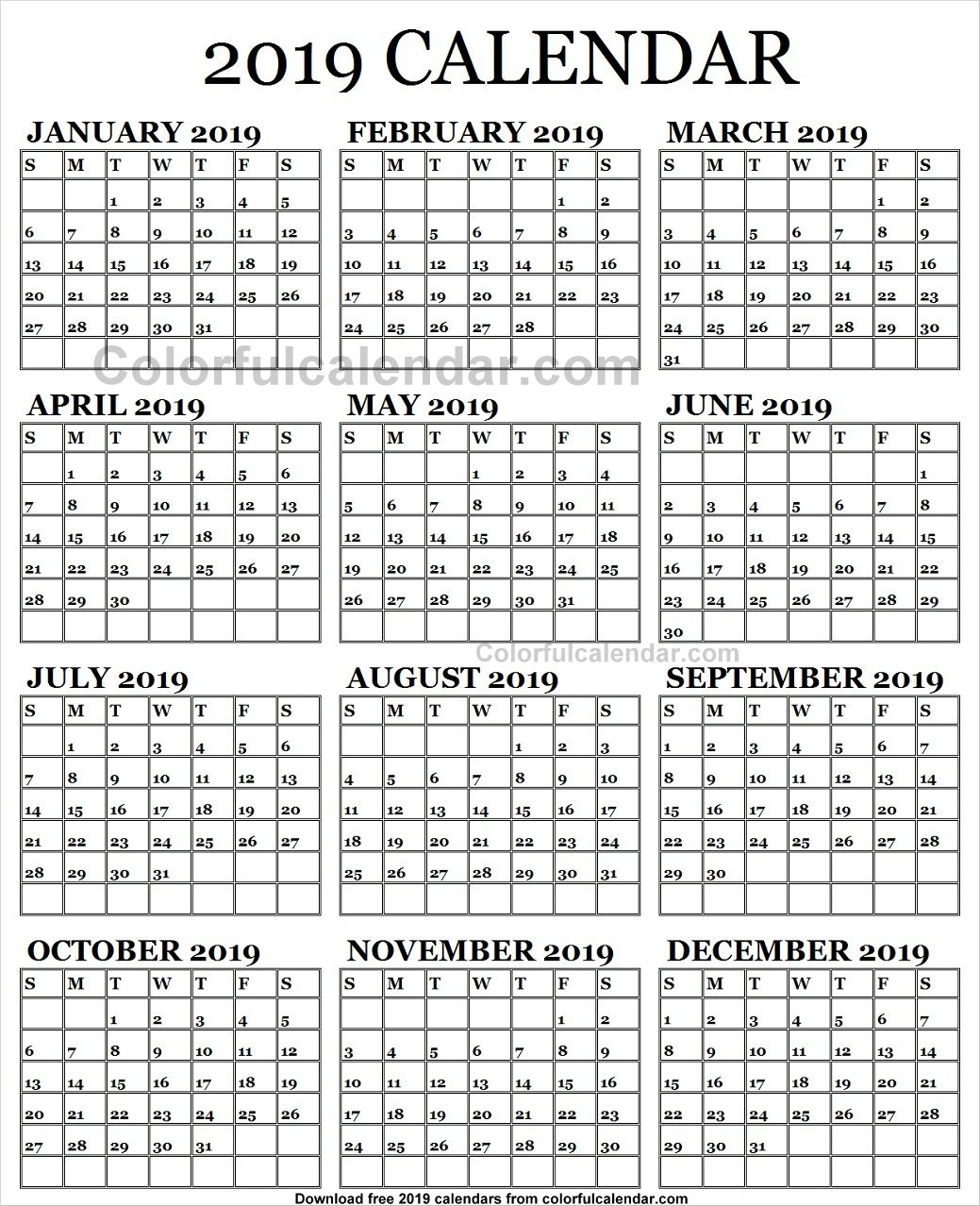 2019 Calendar English Template Cute With Images 2019 Calendar