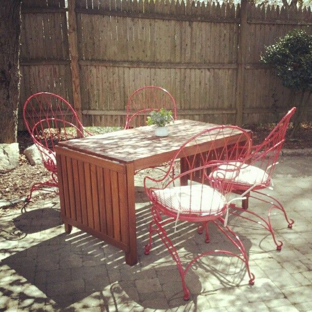 So excited about my new patio furniture!  Table from IKEA, chairs from Sears