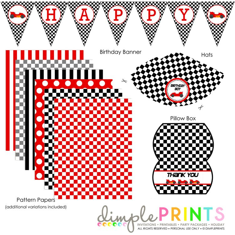 race car deluxe printable party package | race car party, free, Birthday invitations