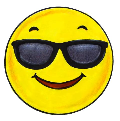 Coloriage emoji lunette garyskids - Dessins de smiley ...