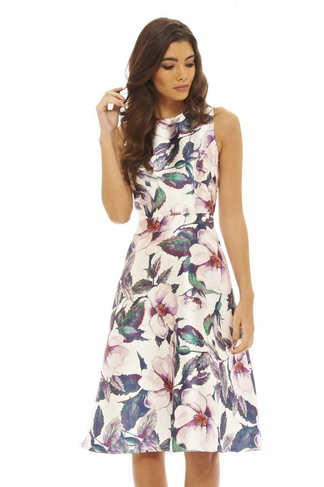Floral Skater Mini Dress - Plum AX PARIS GHaQnqlb7
