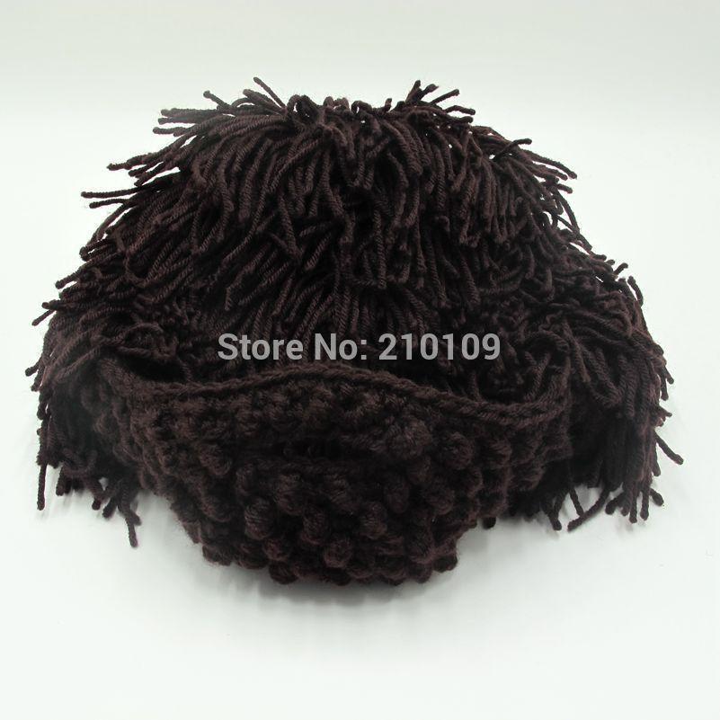 8fa8e5c5f76 Wig Beard Hats Hobo Mad Scientist Rasta Caveman Handmade Knit Warm Winter  Caps Men Women Halloween Gift Funny Party Mask Beanies