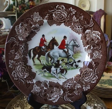 English Fox Hunt Scene Plate Dogs White Brown Horses Vintage Transferware Hunting Decor Decorative