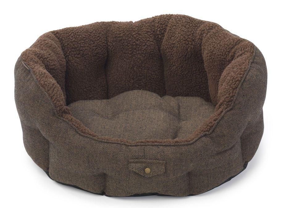 Harris Tweed Snuggle Bed Oval dog bed, Dog bed, Soft dog