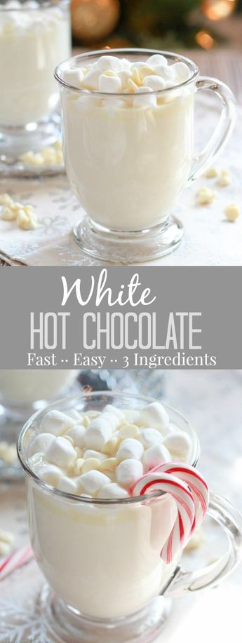 White Hot Chocolate - A simple recipe for sweet and creamy homemade white hot chocolate that is ready in minutes! #hotchocolatebar