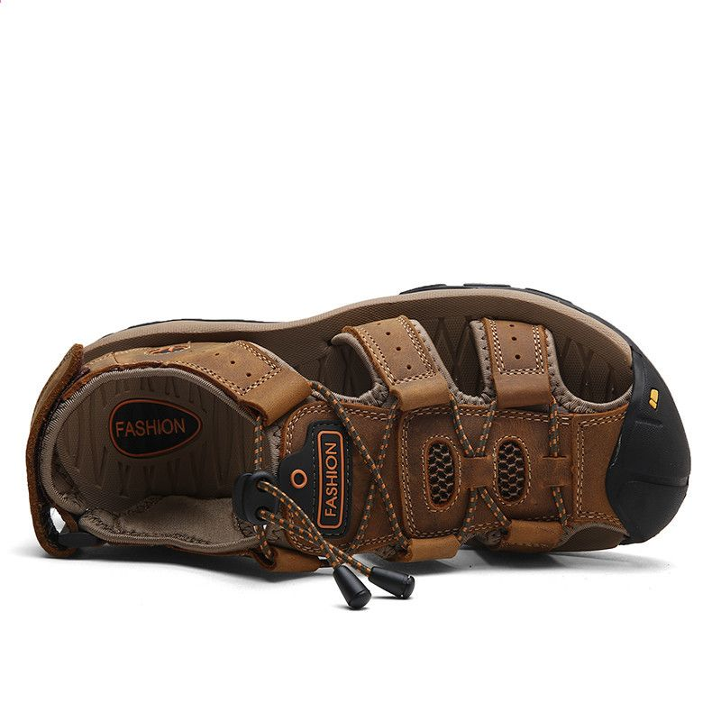Klasyczne Meskie Sandaly Wygodne Meskie Letnie Buty 2018 Skorzane Sandaly Meskie Leather Men Beach Sandals Leather