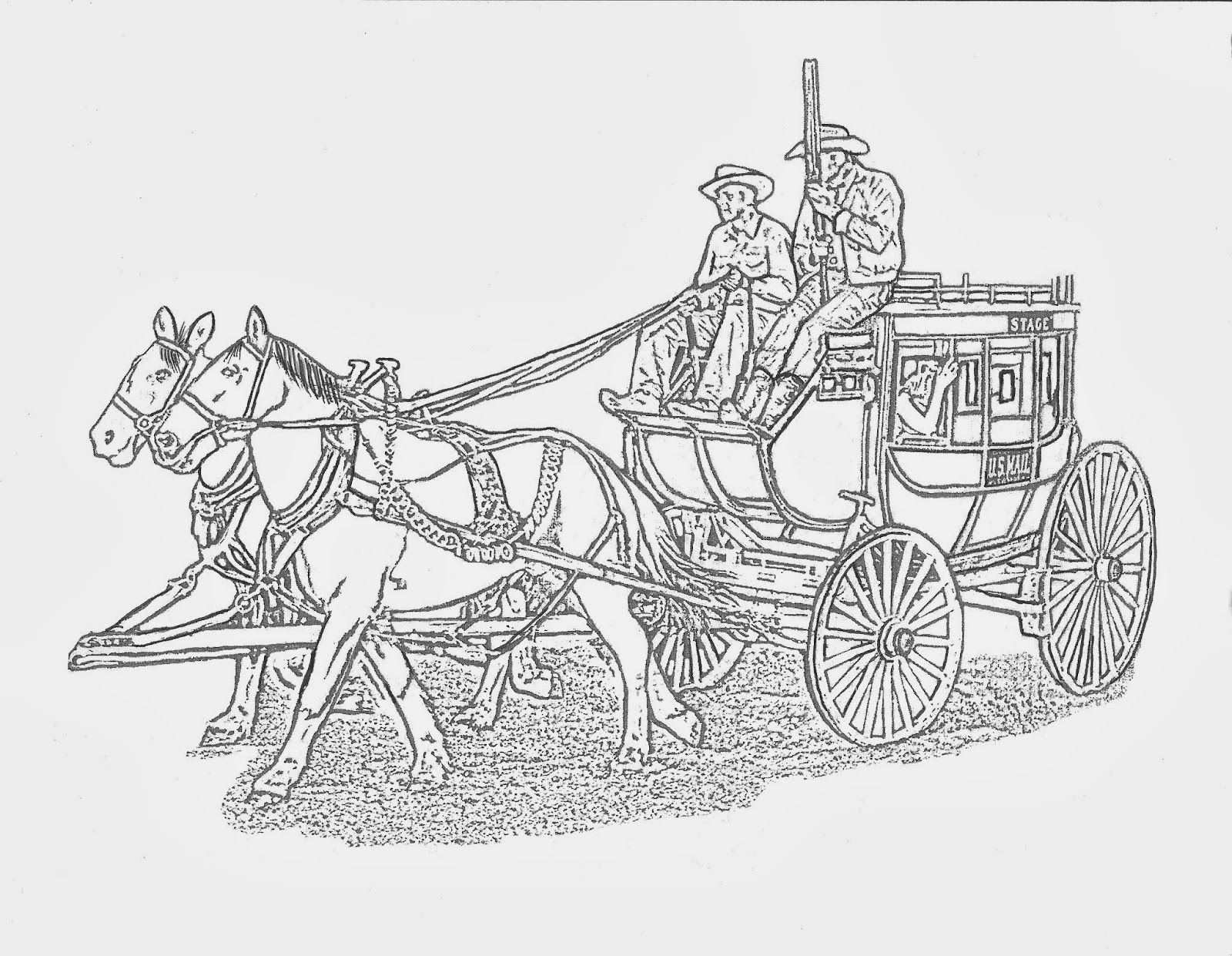 Western Stage Coach Coloring Page By Dancing Cowgirl