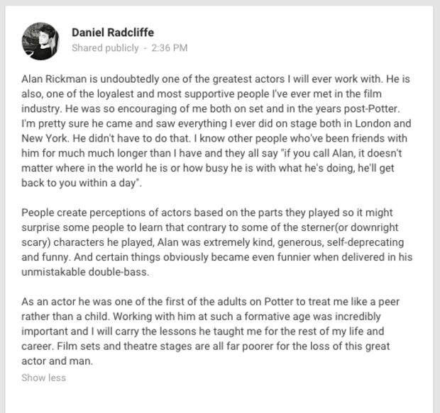 Daniel Radcliffe's tribute to Alan Rickman on Google+